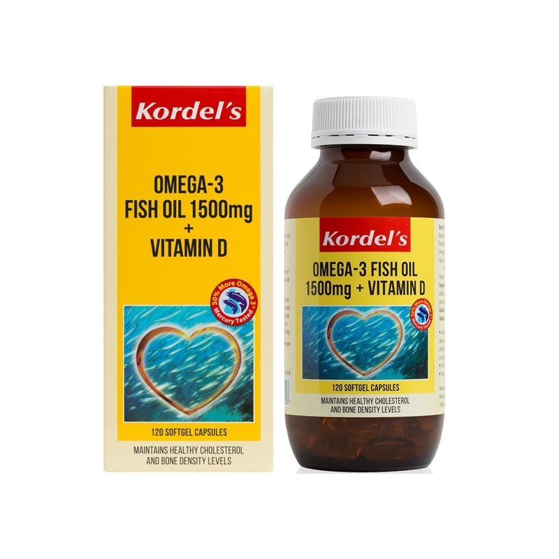 Kordel's Omega-3 Fish Oil 1500mg + Vitamin D, 120 capsules