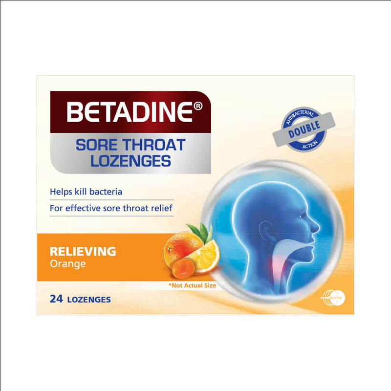 Betadine Sore Throat Lozenges Relieving Orange, 24pcs