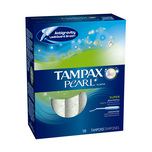 Tampax Pearl Plastic Unscented Super Tampons, 18pcs