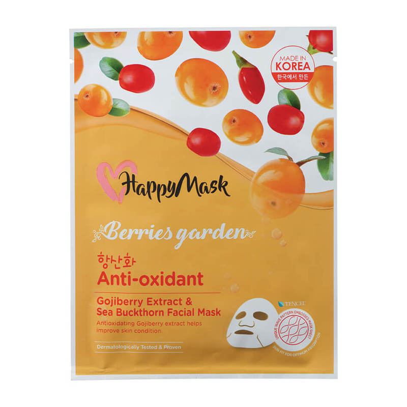 HappyMask Berries Garden Gojiberry Extract & Sea Buckthorn Facial Mask Anti-Oxidant