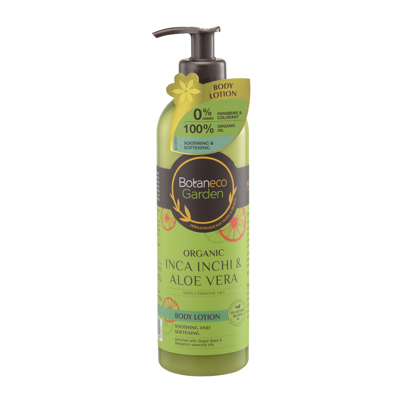Botaneco Garden Organic Inca Inchi and Aloe Vera Body Lotion Grape Seed & Bergamot, 400ml
