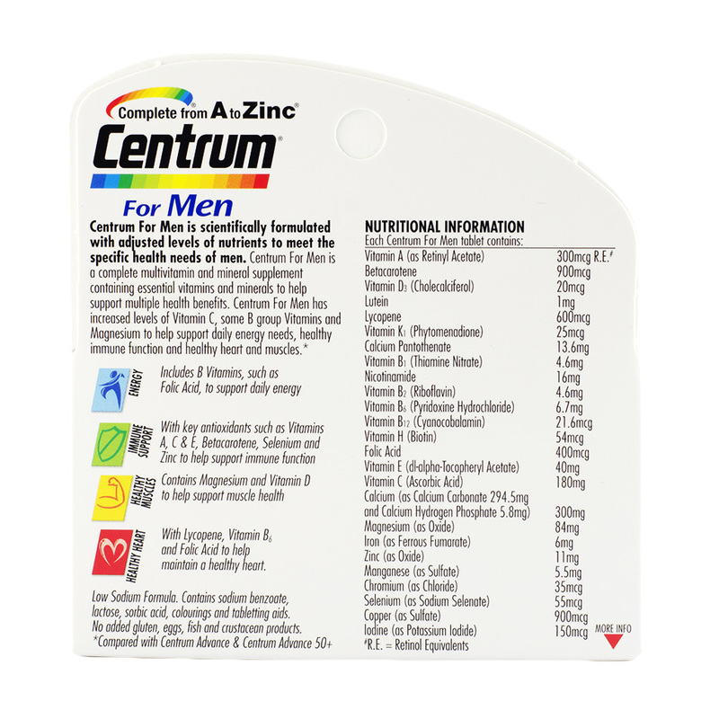 Centrum For Men Multivitamin, 60 tablets