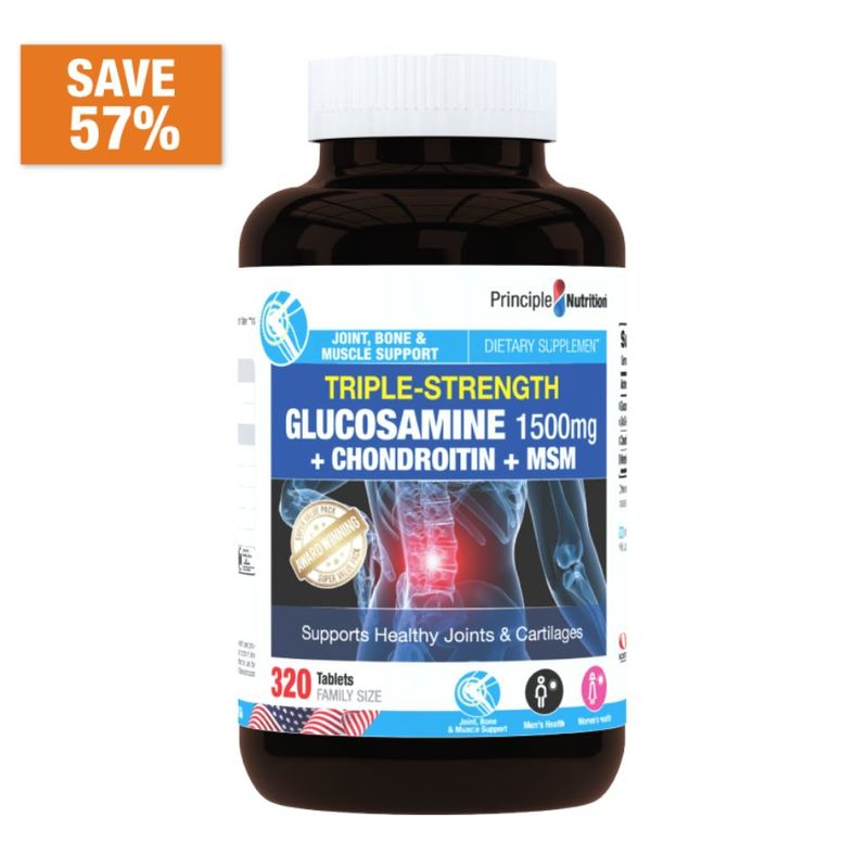 Principle Nutrition Triple Glucosamine 1500mg + Chond 1200mg + MSM 500mg King, 320s