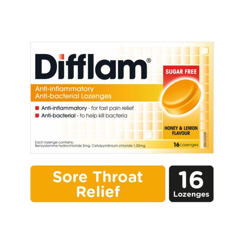 Difflam Anti-Inflammatory Anti-bacterial Honey Lemon Sugar Free Lozenges, 16pcs