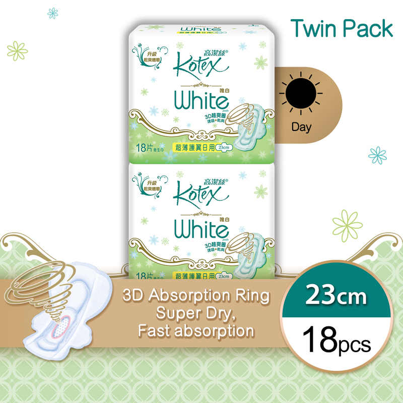 Kotex White UW Regular Twin Pack 18pcs x 2bags