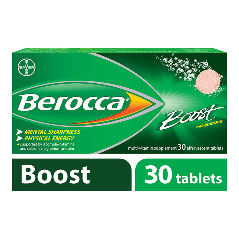 Berocca Boost Vitamin B+ Guarana Energy Effervescent Tablet, 30 tablets
