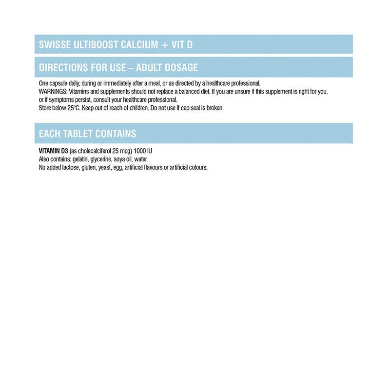 Swisse Ultiboost Calcium + Vitamin D Supplement 90 tabs