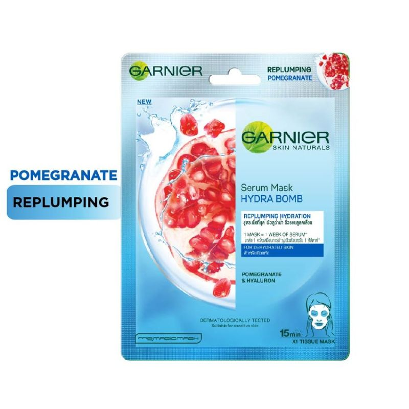 Garnier Serum Mask - Hydra Bomb Pomegranate Super Hydrating Replumping Tissue Mask