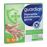 Guardian Disposable Polyethylene Gloves L, 100pcs