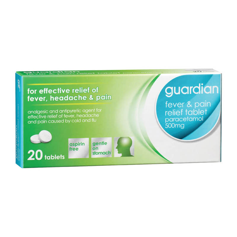 Guardian Fever & Pain Relief Tablet Paracetamol 500mg, 20 tablets