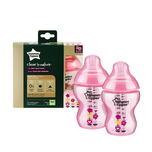 Tommee Tippee Closer to Nature® PP Tinted Bottle Pink 260mL X2 bottles