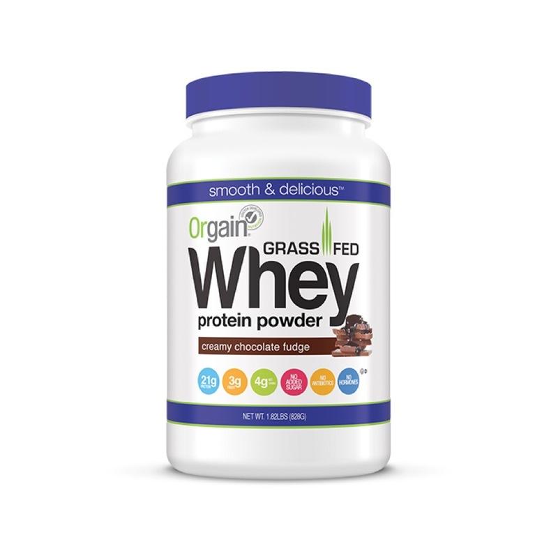 Orgain Organic grassfed Whey Protein Powder Creamy Chocolate Fudge, 1.82lbs