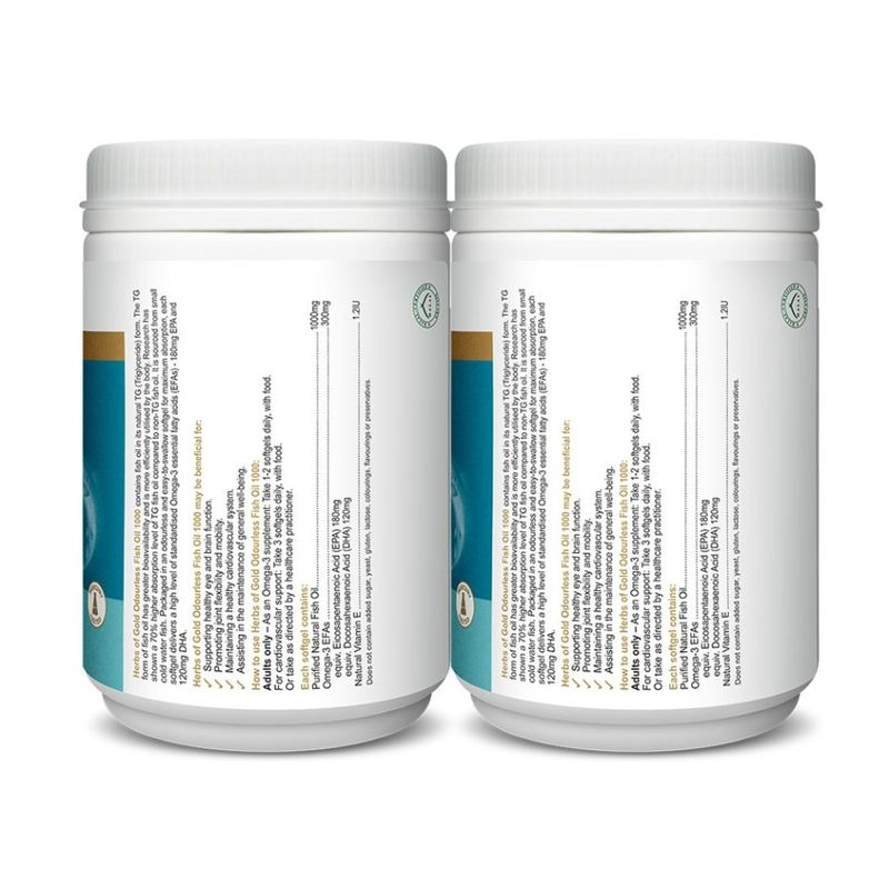 Herbs of Gold Odourless Omega-3 TG Fish Oil 2x300 Softgels