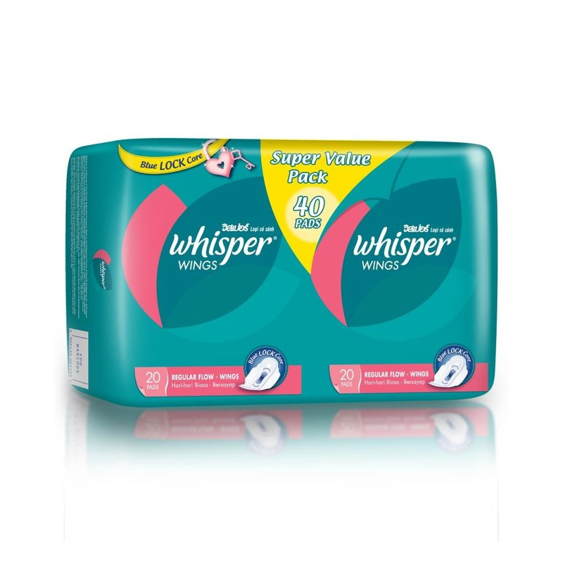 Whisper Regular Flow Wings Twin Pack, 2x20pcs