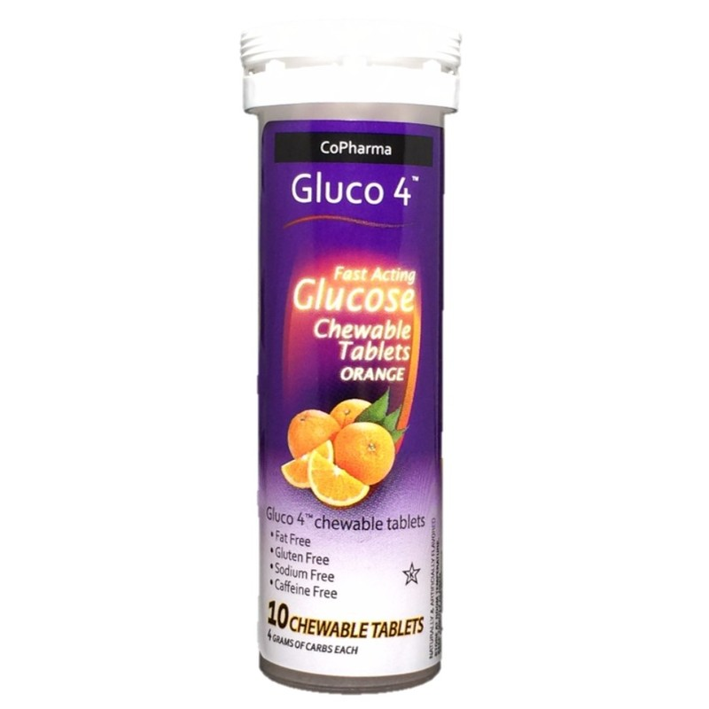 Copharma GLUCO4 Glucose Orange Chewable Tablets, 10 tablets