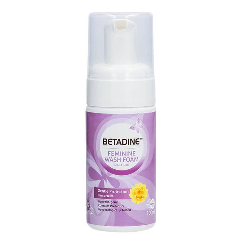 Betadine Daily Feminine Wash Foam Gentle Protection Immortelle, 100ml