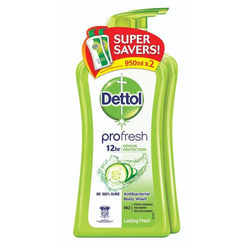 Dettol Lasting Fresh Antibacterial pH-Balanced Body Wash Twin Pack, 2x950ml