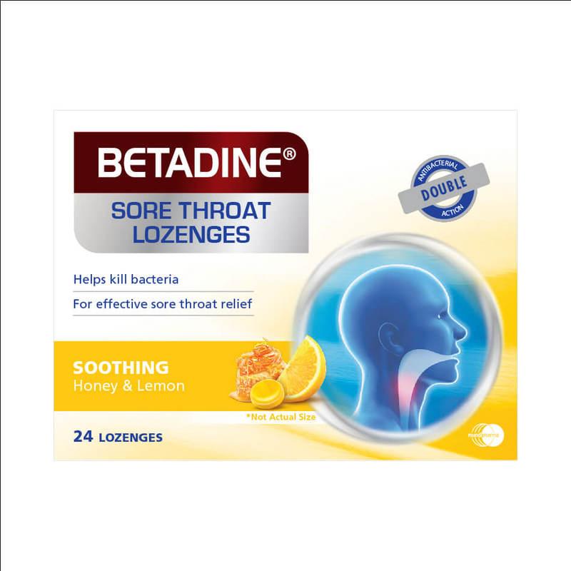 Betadine Sore Throat Lozenges Soothing Honey & Lemon, 24pcs