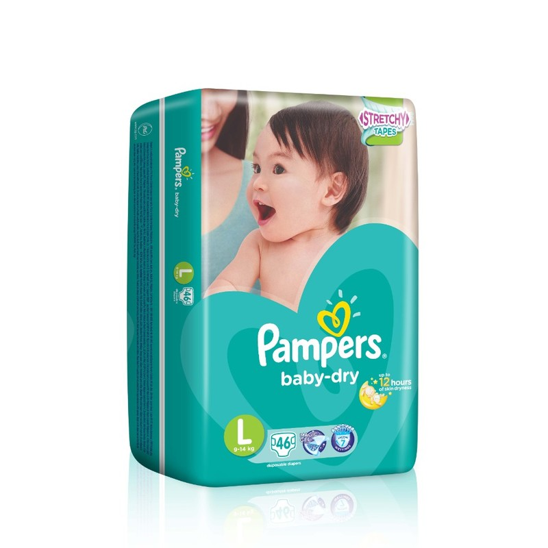 Pampers Baby Dry Diapers L Stretch Tape, 46pcs