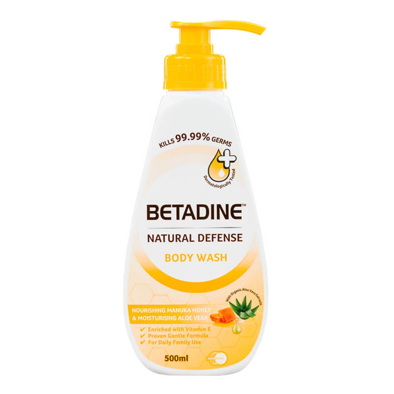 Betadine Natural Defense Nourishing Manuka Honey & Moisturising Aloe Vera Body Wash, 500ml