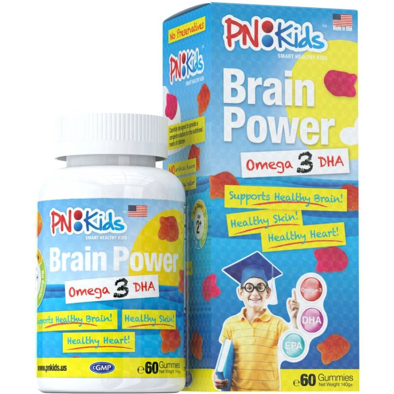 PNKids Brain Power Omega 3 DHA, 60 Gummies