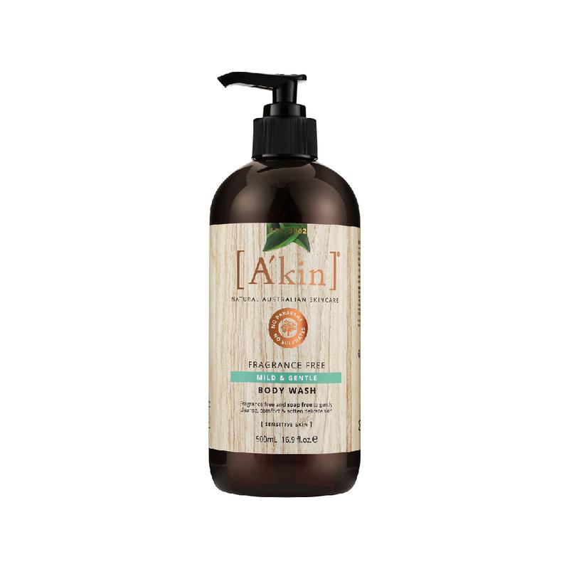 A'kin Fragrance Free Mild & Gentle Body Wash, 500ml