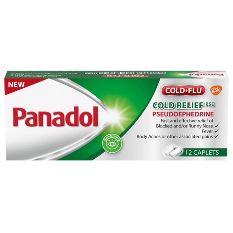 Panadol Cold Relief PSE Fast and Effective Relief of Cold and Flu, 12 tablets