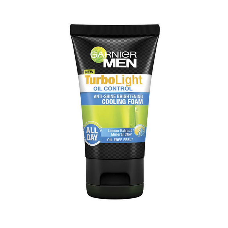 Garnier Men TurboLight Oil Control Anti-Shine Brightening Cooling Foam, 100ml