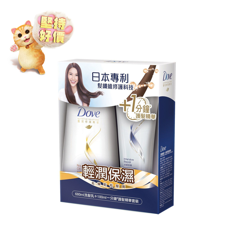 Dove Nourishing Oil Care Shampoo 680mL + Conditioner 180mL