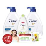 Dove Beauty Nourishing Body Wash Twin Pack, 2x1L with Free Avocado Body Wash, 400ml