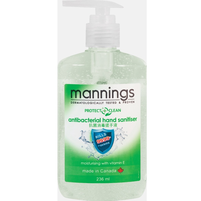 Mannings Antibacterial Hand Sanitizer 236mL