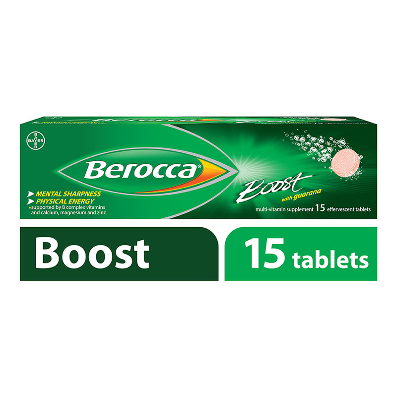 Berocca Boost Vitamin B+ Guarana Energy Effervescent Tablet, 15 tablets