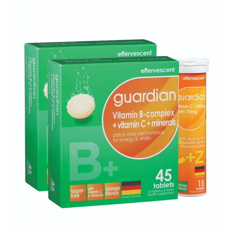 Guardian Vitamin B-complex + Vitamin C + Minerals with Vitamin C 1000mg + Zinc 10mg Bundle