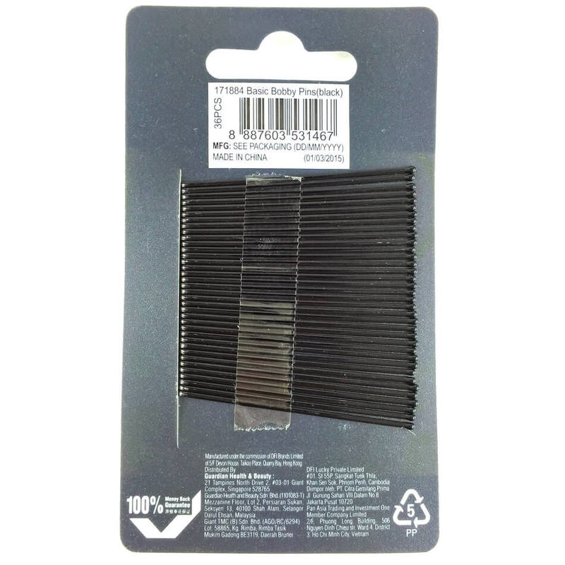 Guardian Basic Bobby Pins Black, 36pcs