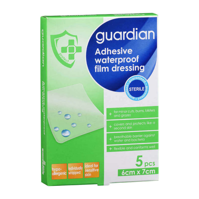 Guardian Adhesive Waterproof Film Dressing, 5pcs