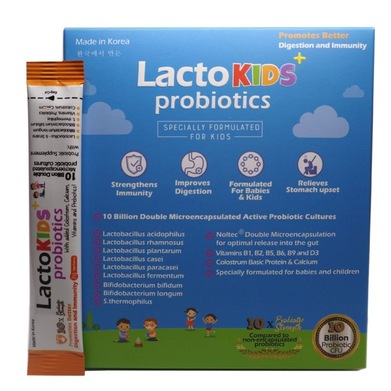 Lactomin Lactokids + Probiotics with added Colostrum, Calcium, Vitamins & Prebiotics, 60 sachets