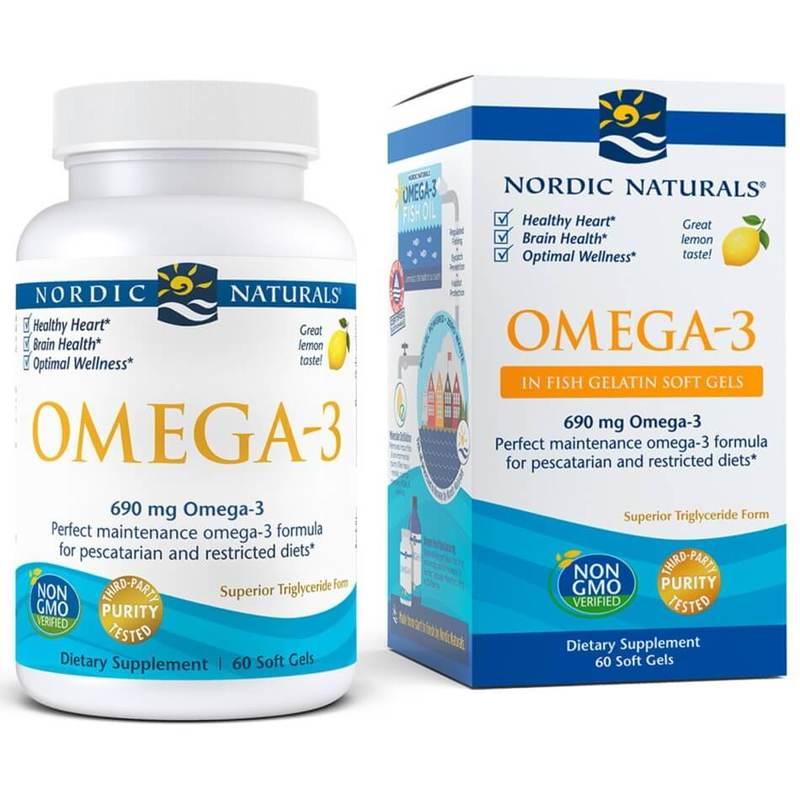 Nordic Naturals Omega-3 Fish Gelatin 60 Soft Gels