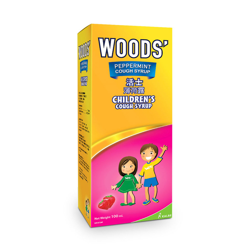 Woods Peppermint Children's Cough Syrup Strawberry, 100ml