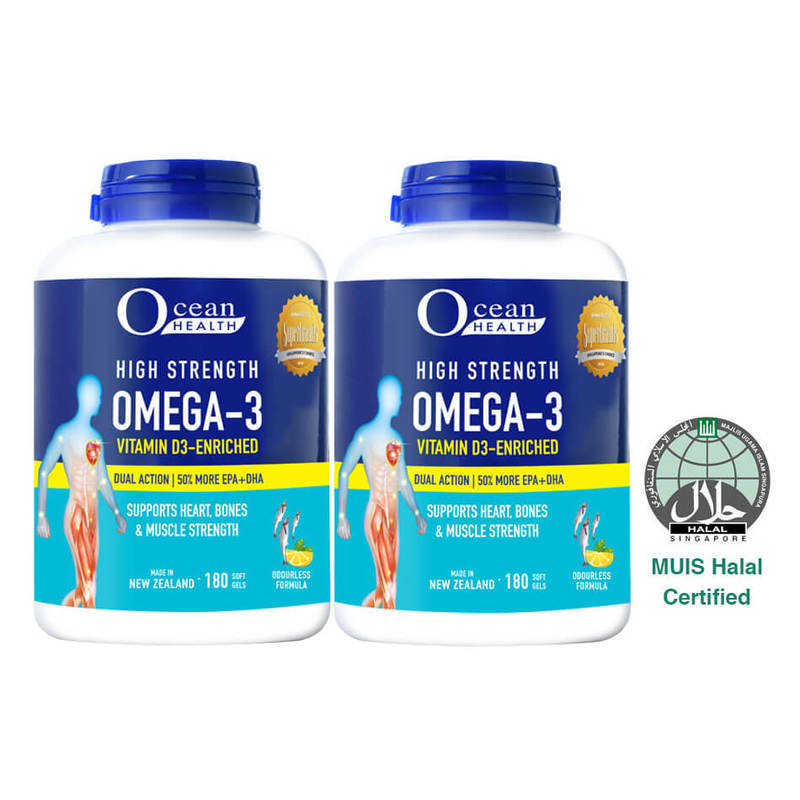 Ocean Health High Strength Omega 3 + Vitamin D3 Twin Pack, 2x180 softgels