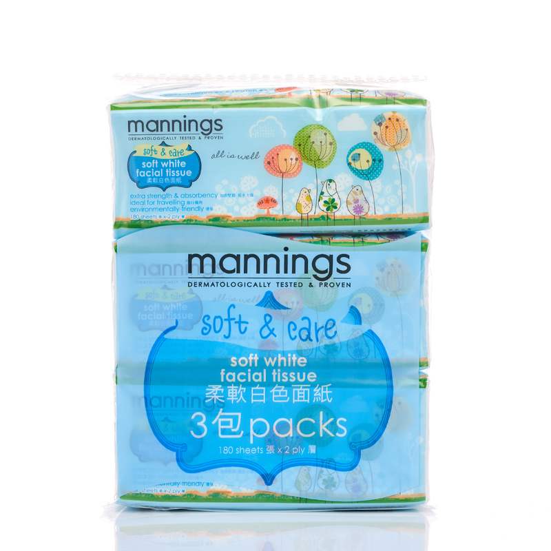 Mannings Ultra Soft White Facial Tissue 3pcs