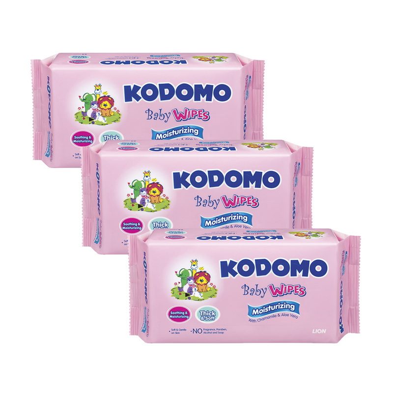 Kodomo Moisturizing Baby Wipes Triple Pack, 3x64pcs