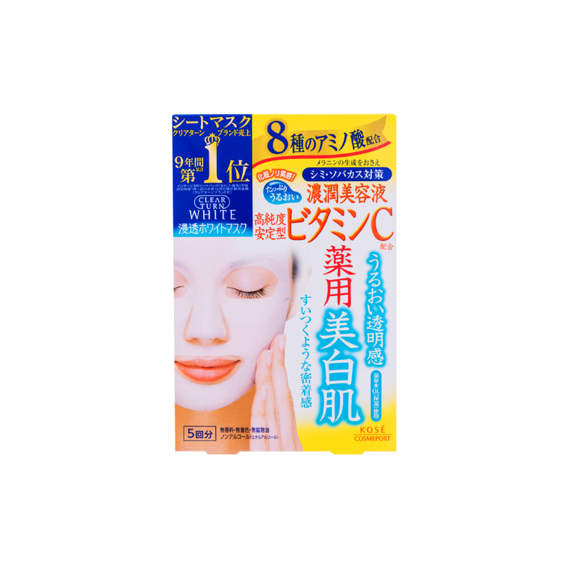 Kose Cosmeport Clear Turn White Mask Vc D, 5pcs