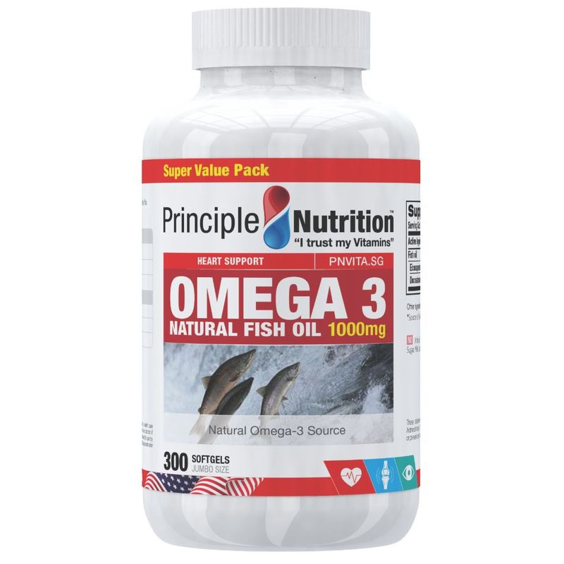 Principle Nutrition  Omega-3 Natural Fish Oil 1000mg 300s