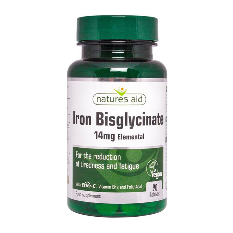 Natures Aid Iron Bisglycinate, 90 tablets