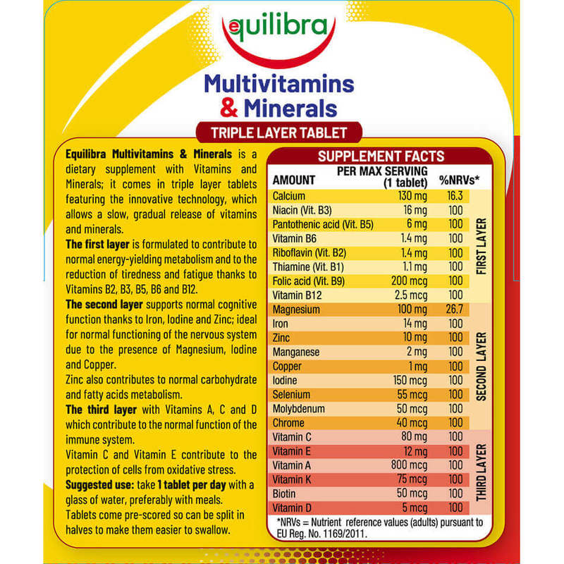 Equilibra, Multivitamins & Minerals Adults, 30 Triple Layer Tablets