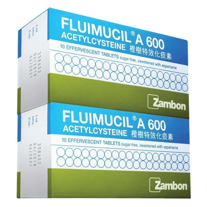 Fluimucil 600mg Effervescent Tablets Twin Pack, 2x10 tablets