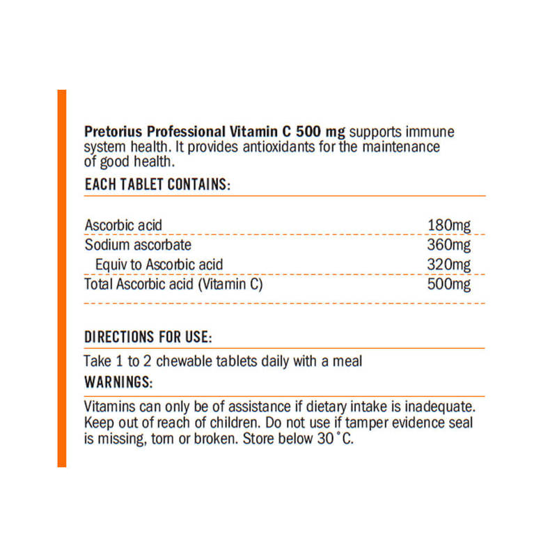 Pretorius Vitamin C 500mg Chewable, 90 tabs