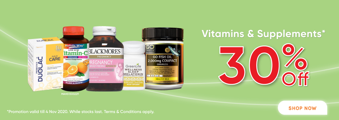 30% Off Vitamins & Supplements - 22 Oct to 4 Nov