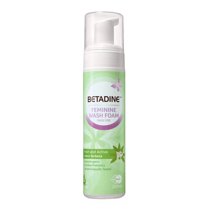 Betadine Daily Feminine Wash Foam Fresh And Active Lemon Verbena, 200ml