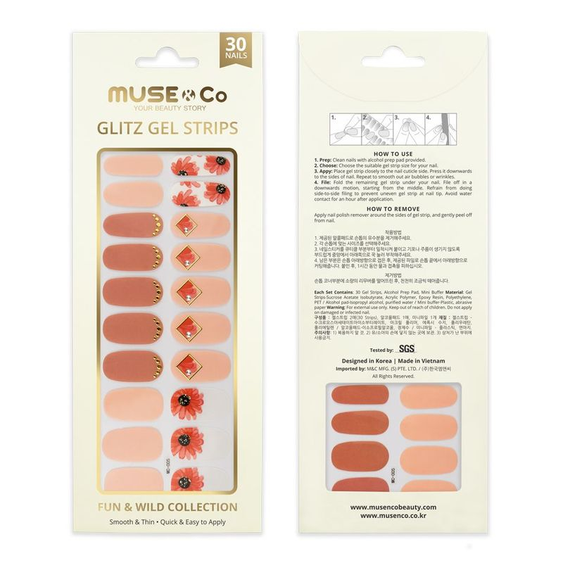 MUSE & Co - Glitz Gel Strips - Blushing Daisy
